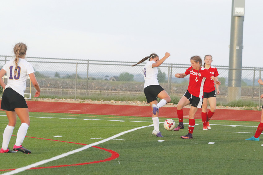 Elizabeth junior Summer Hatch, 4, pushes the ball away from Holy Family defender Jaelen Giron, 14, as the Cardinals mount an attack during the May 9 state girls soccer playoff game held at Holy Family Stadium. Hatch scored the goal for the Cardinals but Holy Family won the game, 5-1.