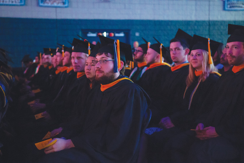 Colorado School of Mines' master's and doctoral students await their diplomas during their commencement ceremony on May 10 in Lockridge Arena on Mines campus in Golden.
