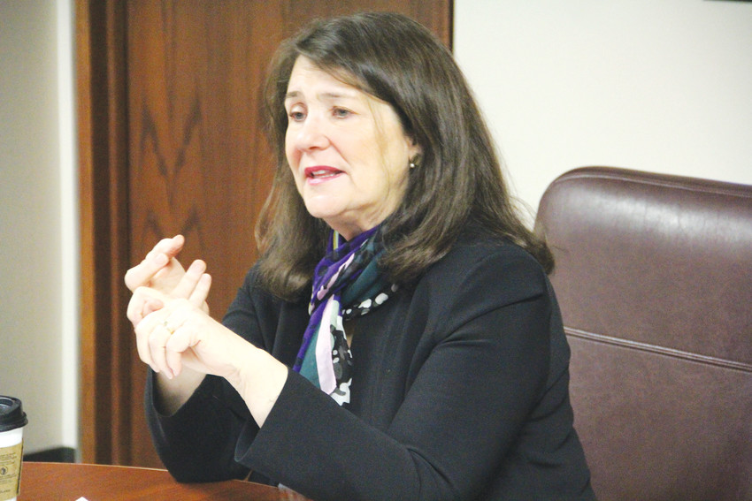 U.S. Rep. Diana DeGette speaks to Denver-area reporters at the building that houses her Denver office at 600 Grant St., May 3. DeGette, D-Denver, represents Denver, Englewood, Sheridan, Cherry Hills Village, Bow Mar and unincorporated areas west of Littleton.