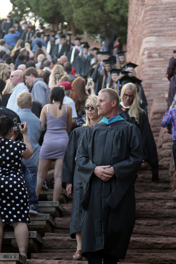 Graduates begin the processional at Highland Ranch High School's 2018 commencement ceremony on May 16.