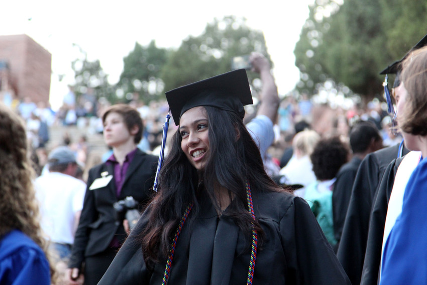"Highlands Ranch High School seniors were encouraged to ""strive for gold"" after graduation."