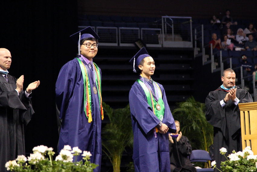Standley Lake Salutatorian Kevin Han and Valedictorian Kameron Liao are celebrated at the May 17 commencement ceremony.