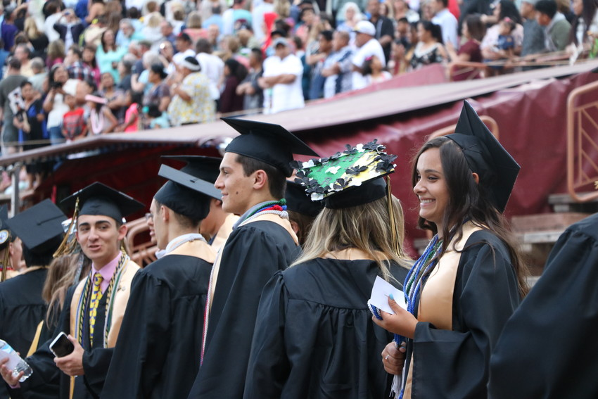 Green Mountain High School seniors take their seats at Red Rocks for their graduation on May 17.