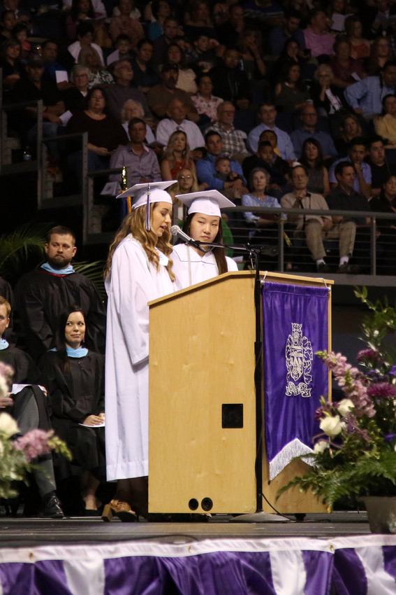 Graduates Luci Holland and Malia Spencer acted as masters of ceremony at the Arvada West graduation.