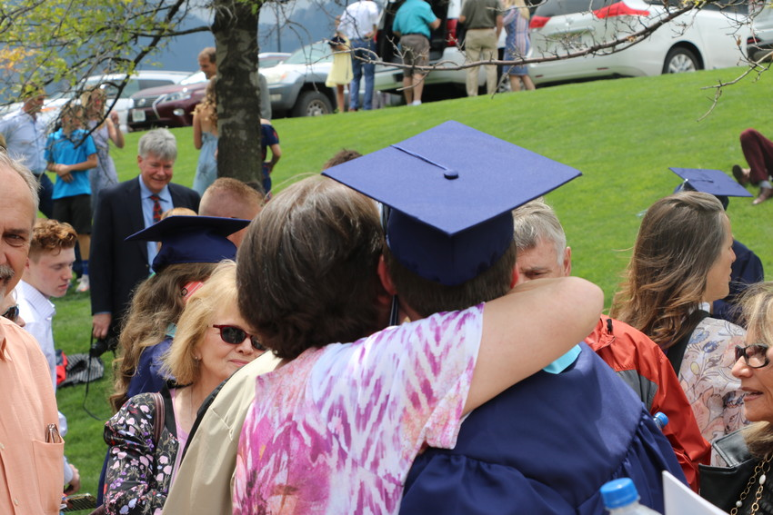 Family members congratulate Ralston Valley graduates following the ceremony on May 18.