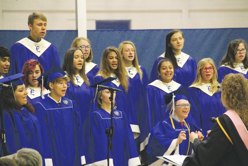 The EHS Vocal Groups perform at the Englewood High School graduation ceremony May 19.