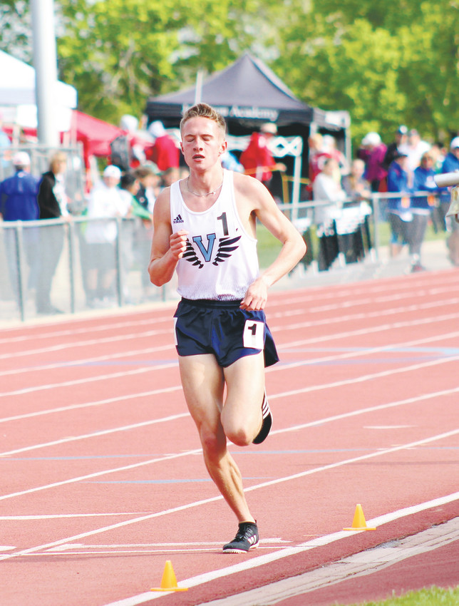 Valor Christian sophomore Cole Sprout nears the finish of the 1,600 run at the state high school championships held May 17-19 at Jeffco Stadium. Sprout won both the Class 4A 1,600 and 3,200 run to add to the state cross country title he won last fall.