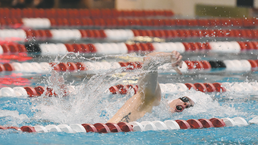 Ponderosa junior Blake Wilton swims in a 200-yard freestyle preliminary heat at the 5A boys championships on May 18 at the Veterans Memorial Aquatic Center in Thornton.