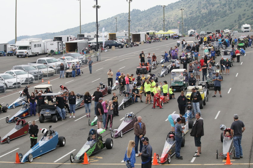 The junior dragsters line up in the staging lanes awaiting their turn at the starting line at a recent year's event. The junior dragsters will be part of the annual high school drag races May 28 at Bandimere Speedway.