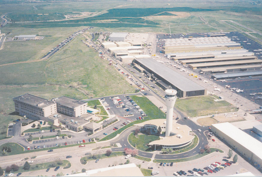 An aerial view of Centennial Airport at 7800 S. Peoria St., just south of East Arapahoe Road.