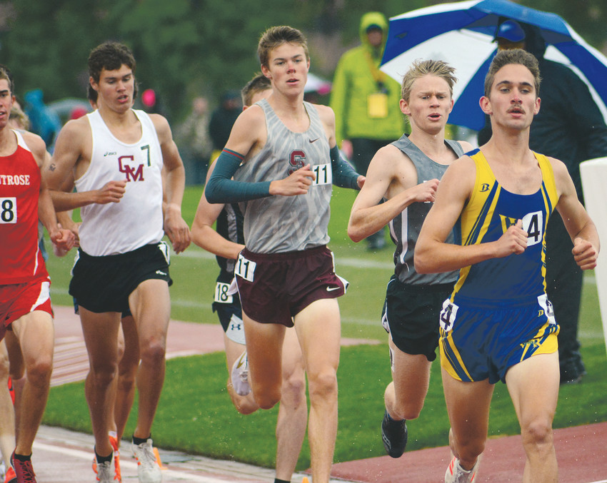 Wheat Ridge senior Drew Seidel, far right, leads a group of runners during the Class 4A boys 1,600-meter race during the state track and field championships May 19 at Jeffco Stadium. Seidel finished on the podium in all three distance races. He was second in the 3,200, along with fourth in both the 1,600 and 800.