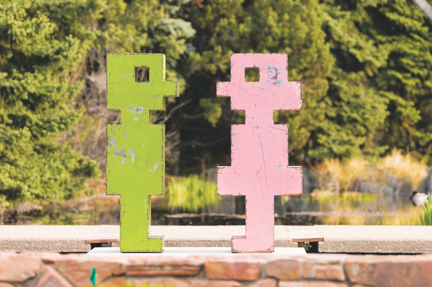 "Mike Whiting's Sculptures ""Pinkie"" and ""Mr. Green"" (steel and paint) are in the City of Denver collection, loaned to the ""Pixelated"" exhibit at Denver Botanic Gardens. Whiting said these early works are particular favorites."