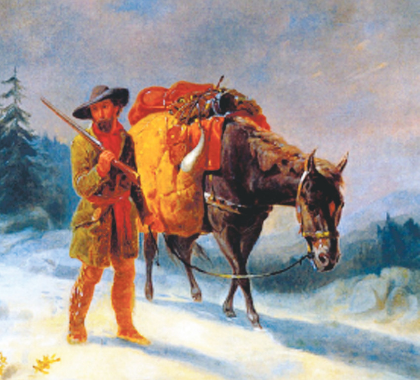 "In the Anschutz Collection at American Museum of Western Art, Denver, one will find ""A Trapper Crossing the Mountains"" by William Tylee Ramsey."