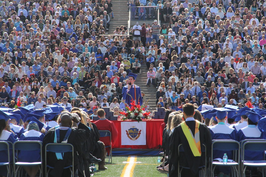 "Stephen Sigman gives an address titled ""The Best Medicine"" on the importance of humor at Cherry Creek High School's graduation ceremony May 23."