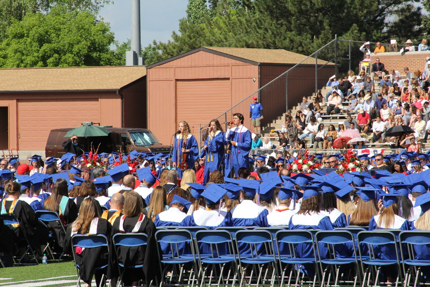 "A group of students performs Regina Spektor's ""Eet"" at Cherry Creek High School's graduation ceremony May 23. Yonghyeon Jonathan Kim performed Chopin's ""Polonaise in A-flat Major, Op. 53"" before that, and another group of students performed ""My Old School"" by Steely Dan."