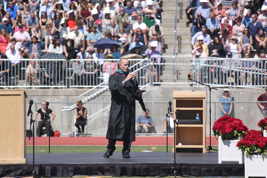 Ponderosa principal Tim Ottmann told students their class had earned more scholarships than any other in Ponderosa history. Photo by Tabatha Stewart.