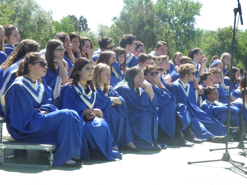 The Arapahoe Concert Choir awaits their next cue.