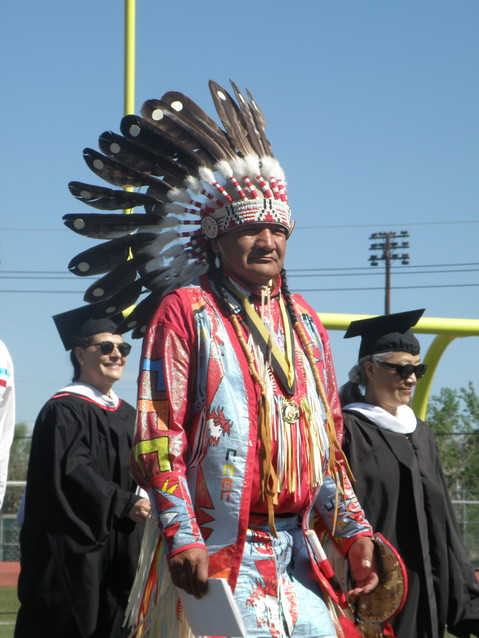 Annin Soldier Wolf, a member of the Northern Arapaho Nation, was one of several Arapaho tribal elders who thanked the school for their connection with the tribe.