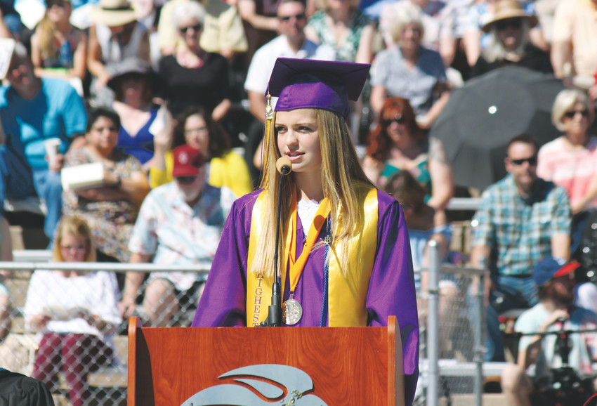 Littleton High School Class of 2018 valedictorian Reganne Layne Fornstrom addresses her classmates at the May 25 commencement at Littleton Public Schools Stadium.