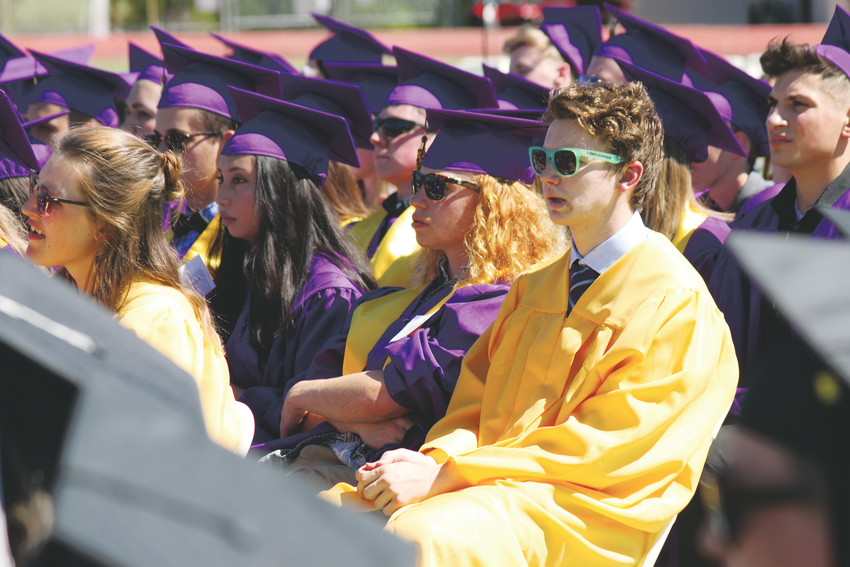 Graduating seniors soaked up the sunshine of a cloudless Colorado day as they listened to speakers at the Littleton High School 2018 commencement.