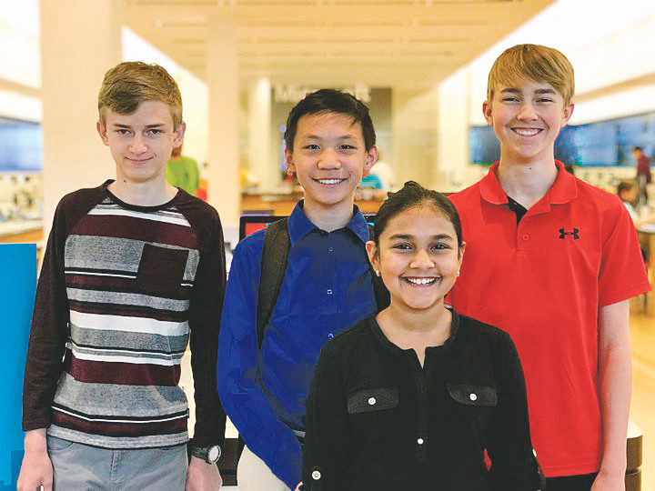 Tobey Switzer (15), Alejandro Casillas (13), William Chen (14) and Gitanjali Rao (12), members of the STEM scouts of Lone Tree, were recognized by the Genes in Space program for their experiment to study genetics in space.
