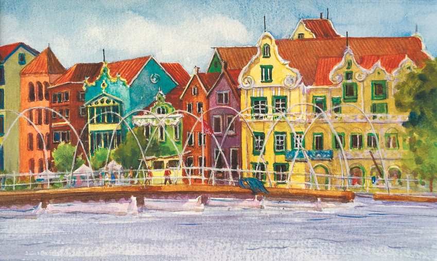Painting of Wlllemstad, Curacao, by painter Pat Clarke, who will teach a plein air workshop for Heritage Fine Arts Guild.
