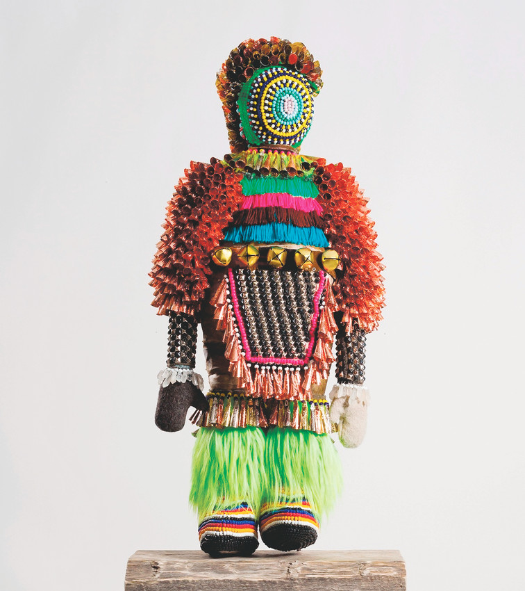 "Jeffrey Gibson's sculpture, ""Like a Hammer"" shows influences of Native American art and pop music."