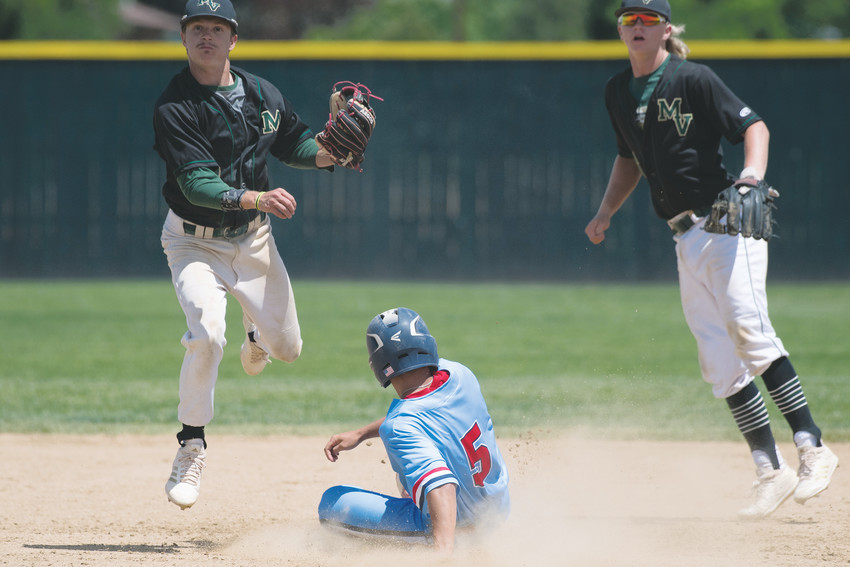 Mountain Vista's Zach Paschke (3) gets off the throw to 1B after forcing out Heritage's Derek Davis (5) at 2B.  Mountain Vista ended up on top 7-2 after winning the earlier elimination round vs. Mountain Range 14-4 Sunday at All City Field in Denver.