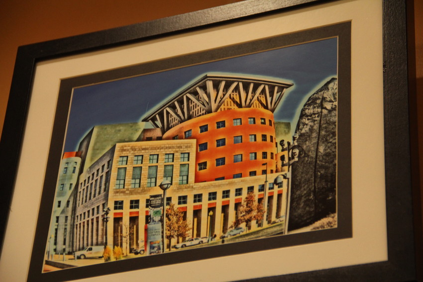 "A piece called ""Art Museum Neighbors"" at the Englewood Public Library June 1. It depicts the Denver Central Library near the Denver Art Museum."