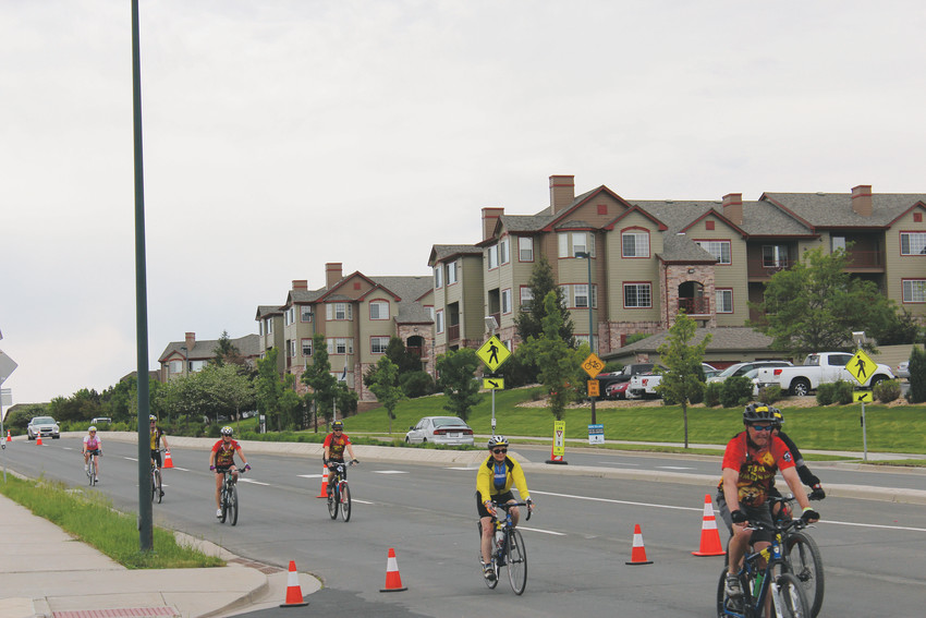 Cyclists hit the home stretch of their ride at the Elephant Rock Ride June 3.