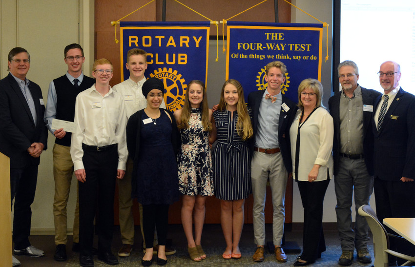 From left to right: Bill Kelley, Rotarian; William Ton, Chaparral; Justin Stenman, Ponderosa; Scott Dassler, Chaparral; Maigh Jammu, Ponderosa; Gabriela Blanchard, Ponderosa; Kate Padmos, Chaparral; Jack DeWolf, Chaparral; Peggy Carter, Rotarian; Dennis Brewster, Rotarian; David Ray, President of the Douglas County School Board. Missing from photo is Emma Leishman, Chaparral.