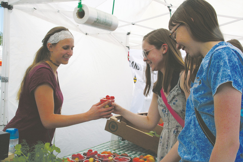 Emmaly Kramer, left, shows Colorado School of Mines students Erica Holswade, front, and Zoey Huey some tomatoes available from the Eat-A-Peach Farms, located in Palisade and Erie. , on June 2 at the Golden Farmers Market.