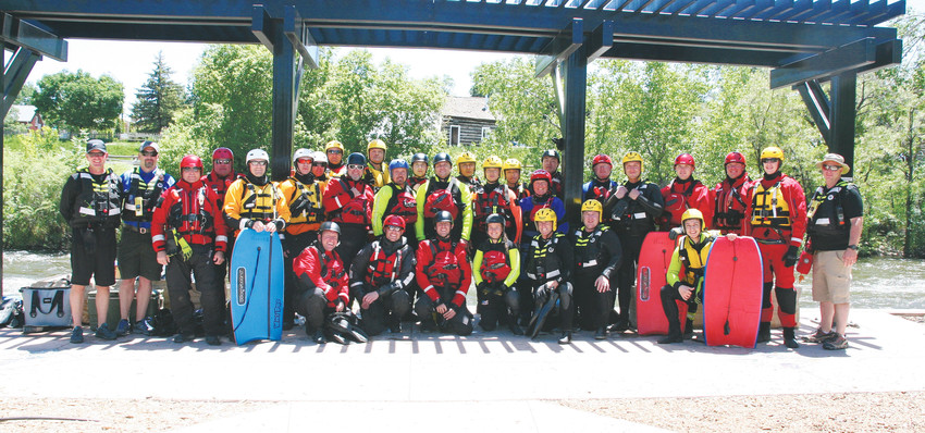 A group of first responders gather for a photo on June 2 while training with Dive Rescue International on Clear Creek. The group consisted of people from across Colorado, a few other states, South Korea and Canada. Dive Rescue International has been coming to Golden to conduct the training every year for the past 10 years.
