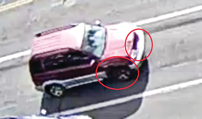 The vehicle in a suspected homicide in Lakewood is a maroon over gray SUV with distinctive damage to the front grill and bumper, missing trim on the front, right wheel and missing a spare tire from the back. The car is likely a Suzuki Grand Vitara, late 1990s to early 2000s model. Lakewood Police are asking for the public's help with any information that would be helpful regarding this case. A tip line has been set up at 303-763-6800 or Crime Stoppers at 720-913-STOP (7867).