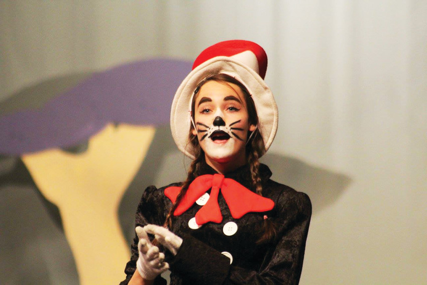 Megan Elisabeth Kelly playing the Cat in the Hat in Seussical at Elizabeth High School.