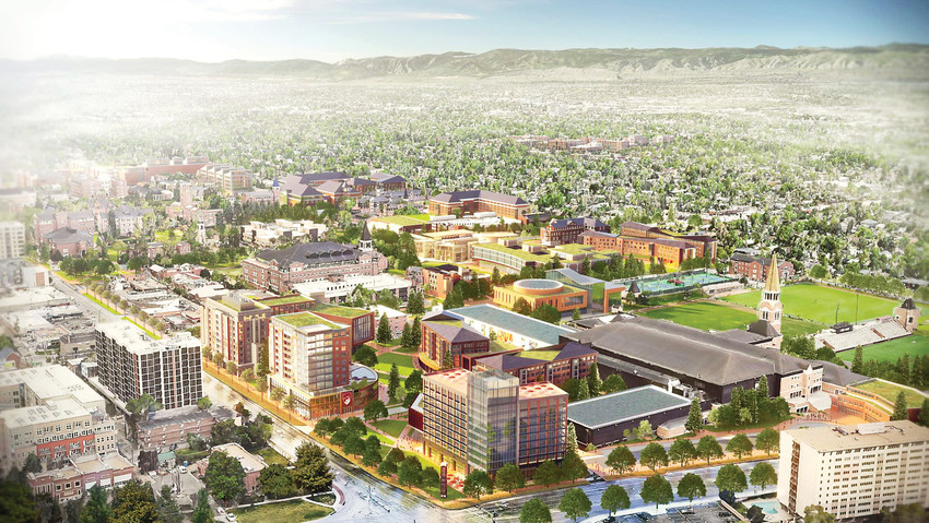 A rendering of what campus could look like when projects from the Denver Advantage Campus Framework Plan are finished.