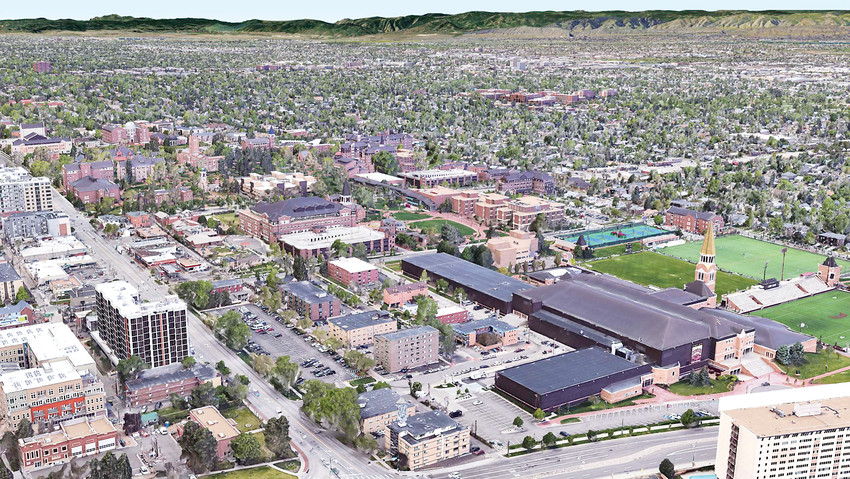 An aerial view of the University of Denver and how it looks currently.