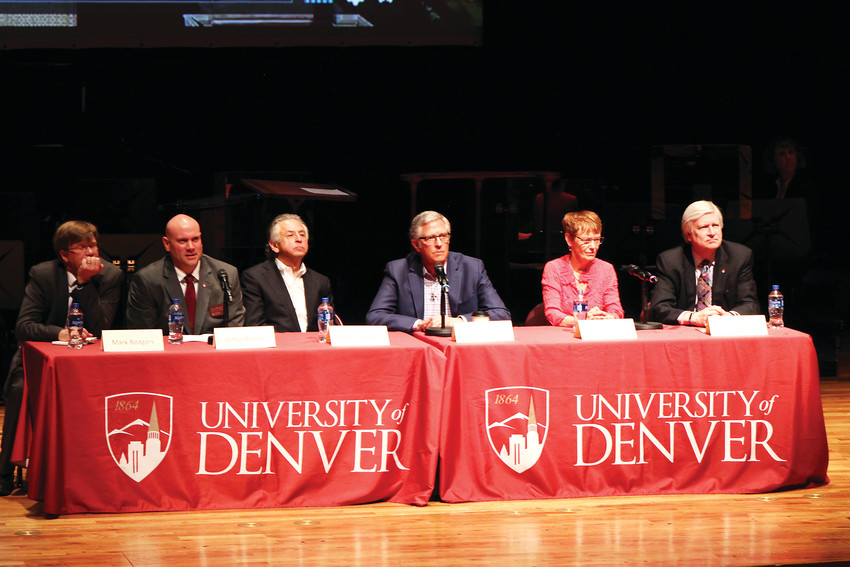 Panelists answer questions at the University of Denver on their new development plan for the 125-acre campus.