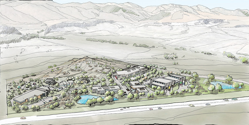 A rendering of the outdoor lifestyle campus, which will also be Yeti Cycles' headquarters.