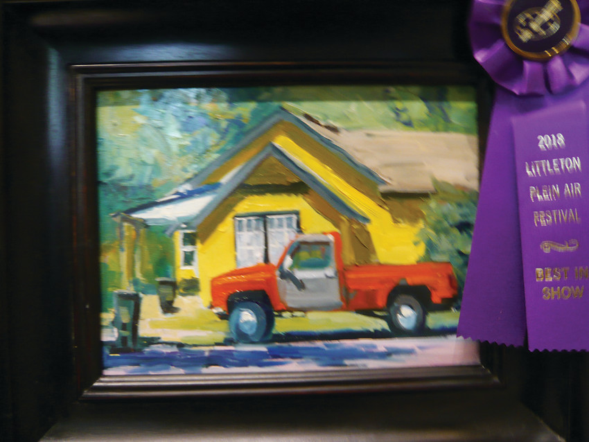 """Sitting Pretty"" by Deborah McAllister was awarded Best of Show by juror Lorenzo Chavez. An exhibit of paintings produced during the festival will be at the Depot Art Gallery, Littleton."