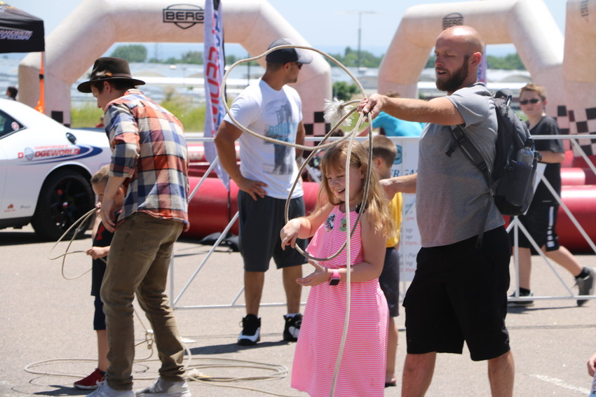 Jared Thompson tries his had at cattle roping during St. Anthony Hospital's 125th anniversary celebration on June 9. The event featured wild west games, live music, food trucks. and more.
