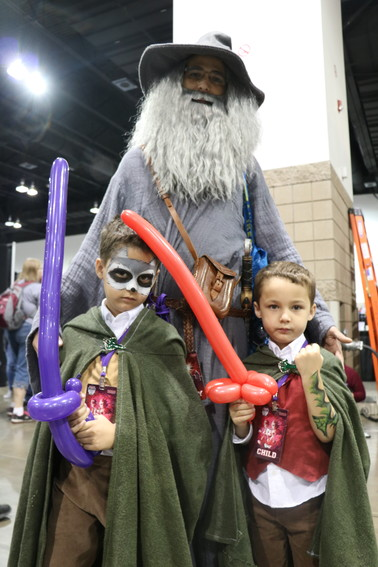 Englewood resident Justin Baca as Gandalf,  with his two children, Marcus and Eric, as hobbits at this year's Denver Comic Con.