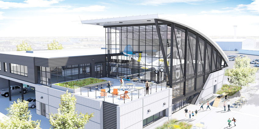 "A rendering of ""The Hangar,"" Centennial Airport's planned new administration building that will double as a community center and event venue. The building will feature about 20,000 square feet of space."