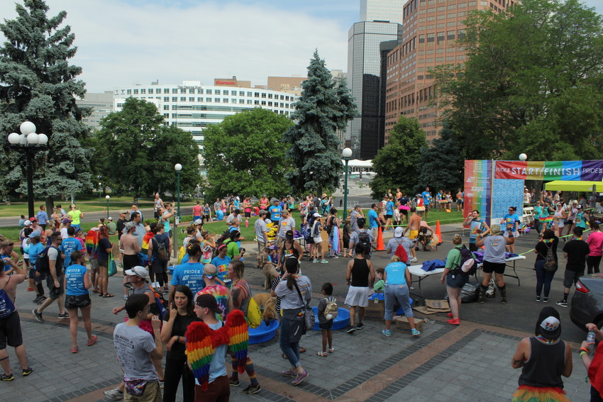 Crowds gathered at the Capitol building in Denver after the Pride 5k event on June 16.