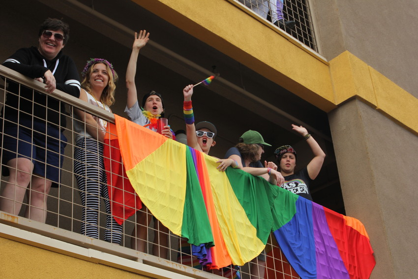 Many people watched the Pride Parade on June 17 from their balconies lining Colfax Avenue. The parade goes from Cheesman Park to Civic Center Park.