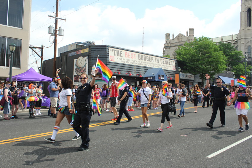 Members of the Aurora Police Department walked in the 2018 Pride Parade on June 17 in Denver.
