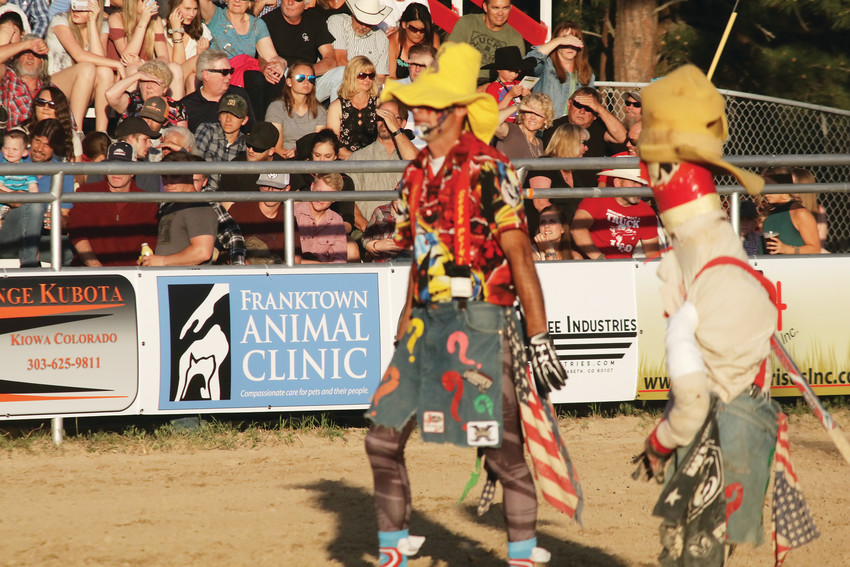 Barrel man and rodeo clown J.W. Winklepleck plays the funny man with his jokes but he is ready with his barrel to provide a safe haven for bull riders during the June 1, 2 and 3 Elizabeth Stampede.