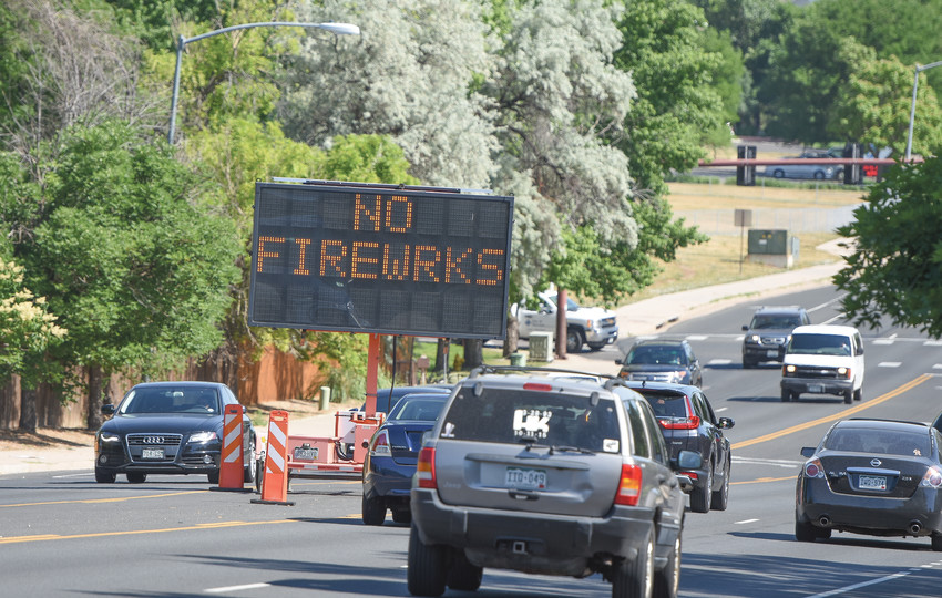 Motorists along Colorado Boulevard near 124th Ave. in Thornton are being reminded of a city ordinance prohibiting all fireworks, except licensed public displays. Similar signs are now out throughout the city.