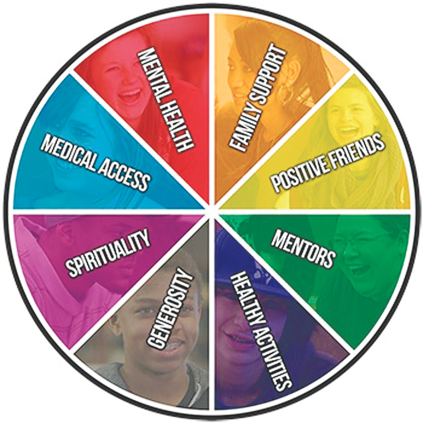 Sources of Strength, an international suicide-prevention program, encourages students to focus on eight strengths in their lives. Each is represented as the slice of a colorful wheel, which hangs on the walls of many middle schools and high schools.