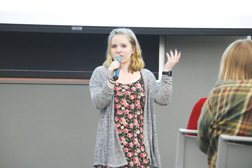 "Kirstie June shares her experience of having an eating disorder at the Time to Talk community forum on mental health at the Lone Tree Library in April. ""There is no snap of the finger,"" she said, of recovering from a mental illness."